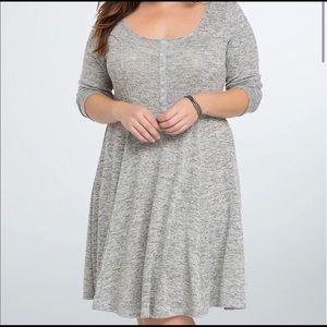 Torrid Grey Henley A-Line 3/4 Sleeve Dress